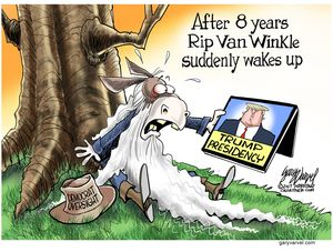 After 8 years, Rip Van Winkle suddenly wakes up.