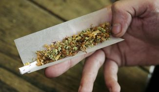 In this June 24, 2008, file image a regular user of soft drugs demonstrates how to roll a joint with tobacco and marijuana in a coffee shop in Amsterdam, Netherlands. (AP Photo/Peter Dejong) ** FILE **