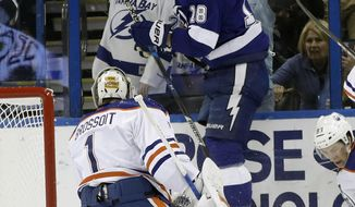 Tampa Bay Lightning left wing Ondrej Palat (18), of the Czech Republic, jumps against the glass after scoring past Edmonton Oilers goalie Laurent Brossoit (1) during the first period of an NHL hockey game Tuesday, Feb. 21, 2017, in Tampa, Fla. (AP Photo/Chris O'Meara)