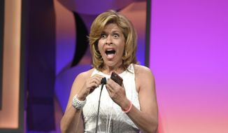 """Hoda Kotb accepts the award for outstanding host, news/non-fiction for the """"Today"""" show at the 40th Anniversary Gracies Awards at the Beverly Hilton Hotel in Beverly Hills, Calif., in this May 19, 2015, file photo. Kotb announced on Feb. 21, 2017, that she adopted a baby girl. (Photo by Chris Pizzello/Invision/AP, File)"""