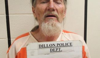 This Sunday, Feb. 19, 2017 booking photo provided by the Dillon, Mont., Police Department shows Terry Watson, 62. Watson was arrested Sunday on suspicion of attempted deliberate homicide after a pharmacy robbery in Dillon. A vacationing law enforcement officer from Utah tackled Watson, wrestled a gun away from him and held him for local police. (Dillon Police Department via AP)