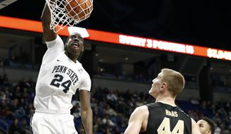 Penn State's Mike Watkins (24) dunks against Purdue during the first half of an NCAA college basketball game in State College, Pa., Tuesday, Feb. 21, 2017. (AP Photo/Chris Knight)