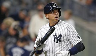 FILE - In this Aug. 12, 2016 file photo, New York Yankees designated hitter Alex Rodriguez reacts after striking out swinging against Tampa Bay Rays at Yankee Stadium in New York. On his first day as a New York Yankees spring training guest instructor, 41-year-old Alex Rodriguez maintained he will not attempt a comeback as a player, Tuesday, Feb. 21, 2017.   (AP Photo/Kathy Willens)
