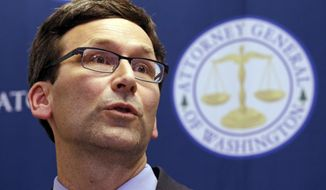 Washington Attorney General Bob Ferguson speaks at a news conference in Seattle, Wash., in this Feb. 9, 2017, file photo. (AP Photo/Elaine Thompson, file)