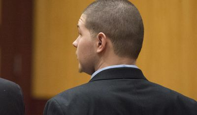 Tony Moreno looks to the jury as his guilty verdict is read by the jury foreperson in Middlesex Superior Court on Wednesday, Feb. 22, 2017 in Middletown, Conn.   Moreno threw 7-month-old Aaden off the Arrigoni Bridge that spans the Connecticut River between Middletown and Portland on July 15, 2015, and then jumped intending to kill himself, prosecutors said.  (Patrick Raycraft/Hartford Courant via AP)