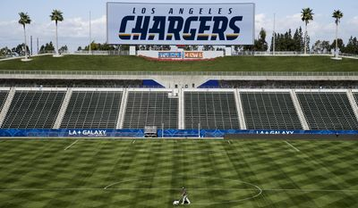 A general view of the StubHub Center is seen prior to a news conference to introduce Los Angeles Chargers coordinators for offense, defense and special teams Wednesday, Feb. 22, 2017, in Carson, Calif. (AP Photo/Jae C. Hong)