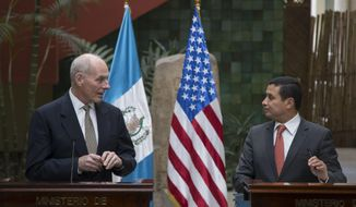 U.S. Secretary of Homeland Security John F. Kelly, left, and Guatemala's Foreign Minister Carlos Morales give a joint press conference at the Foreign Affairs Ministry in Guatemala City, Wednesday, Feb. 22, 2017. Kelly is in Guatemala for a two day official visit. (AP Photo/Luis Soto)