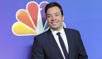 """FILE - In this May 12, 2014 file photo, """"The Tonight Show"""" host Jimmy Fallon attends the NBC Network 2014 Upfront presentation at the Javits Center in New York. Fallons told The Associated Press Wednesday, Feb. 22, 2017, that he donated $100,000 to his high school alma mater, Saugerties High School in upstate New York. (Photo by Evan Agostini/Invision/AP, File)"""