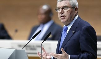 "FILE - In this Friday, Feb. 26, 2016 file photo, IOC President Thomas Bach speaks during the extraordinary FIFA congress in Zurich, Switzerland. Olympic leader Thomas Bach's grand plan was to streamline the Olympics, cut costs and encourage more cities to step up to try to host the games. Judged by the first round of bidding since the revamp, the plan, titled ""Agenda 2020,"" has failed. (AP Photo/Michael Probst File)"