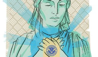 Illustration on immigration by Linas Garsys/The Washington Times