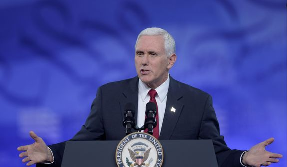 """Vice President Mike Pence was one of the key speakers on the opening day of the Conservative Political Action Conference, where he exalted the president and said it's """"our time"""" to usher in a vision for the country. (Associated Press)"""