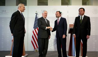Secretary of State Rex W. Tillerson (center left) met Mexican Foreign Relations Secretary Luis Videgaray (center right) to discuss a range of issues including the southwest border and trade. Both sides say the meeting was productive, though Mr. Videgaray said the chasm between the two sides on some issues remains great. (Associated Press)
