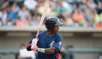Victor Robles (16) of the Potomac Nationals at bat against the Winston-Salem Dash at BB&T Ballpark on July 15, 2016 in Winston-Salem, North Carolina.  The Dash defeated the Nationals 10-4.  (Brian Westerholt/Four Seam Images via AP Images)