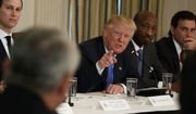 President Donald Trump speaks during a meeting with manufacturing executives at the White House in Washington, Thursday, Feb. 23, 2017. From left are, White House Senior Adviser Jared Kushner, Trump, Merck CEO Kenneth Frazier, and Ford CEO Mark Fields. (AP Photo/Evan Vucci)