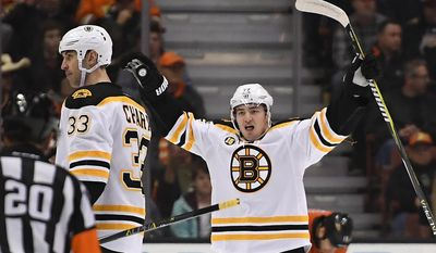 Boston Bruins center Frank Vatrano, right, celebrates a goal by defenseman Zdeno Chara, left, of Slovenia, during the second period of the team's NHL hockey game against the Anaheim Ducks, Wednesday, Feb. 22, 2017, in Anaheim, Calif. (AP Photo/Mark J. Terrill)