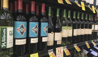 In this Wednesday, Feb. 22, 2017 photo, New Mexico wines are shown at an Albertsons grocery store in Rio Rancho, N.M. A new proposal would ban alcohol for New Mexico's repeat drunken drivers in what would make for one of the most restrictive DWI laws in the country. (AP Photo/Russell Contreras)