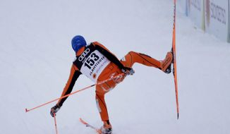 Venezuela's Adrian Solano competes during the men's cross country sprint qualification at the 2017 Nordic Skiing World Championships in Lahti, Finland, Thursday, Feb. 23, 2017. (AP Photo/Matthias Schrader)