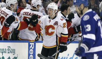 Calgary Flames center Sean Monahan (23) celebrates with the bench after scoring against the Tampa Bay Lightning during the second period of an NHL hockey game Thursday, Feb. 23, 2017, in Tampa, Fla. (AP Photo/Chris O'Meara)