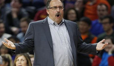 Detroit Pistons coach Stan Van Gundy reacts after being whistled for a technical foul during the second quarter of the team's NBA basketball game against the Charlotte Hornets on Thursday, Feb. 23, 2017, in Auburn Hills, Mich. (AP Photo/Duane Burleson)
