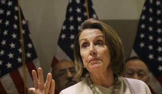 House Minority Leader Nancy Pelosi of California speaks at a news conference after participating in a roundtable discussion about President Donald Trump's immigration and refugee policies in San Francisco, Thursday, Feb. 23, 2017. (AP Photo/Jeff Chiu)