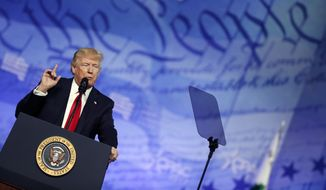 President Donald Trump speaks at the Conservative Political Action Conference (CPAC), Friday, Feb. 24, 2017, in Oxon Hill, Md. (AP Photo/Alex Brandon)