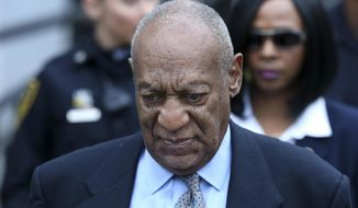 In this Tuesday, Nov. 1, 2016 file photo, Bill Cosby leaves after a hearing in his sexual assault case at the Montgomery County Courthouse in Norristown, Pa. A judge on Feb. 24 told prosecutors he would permit them to call one woman who claims she too was victimized by Mr. Cosby. They had asked for the court to allow 13 such witnesses to describe their alleged sexual assaults at the hands of Mr. Cosby. (AP Photo/Mel Evans, File) **FILE**