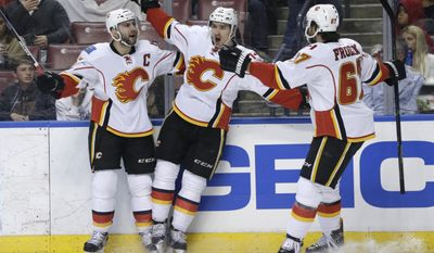 Calgary Flames center Mikael Backlund, center, celebrates with right wing Michael Frolik (67) after scoring a goal during the first period of an NHL hockey game against the Florida Panthers, Friday, Feb. 24, 2017, in Sunrise, Fla. (AP Photo/Lynne Sladky)