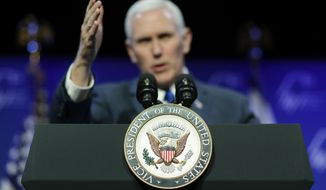 Vice President Mike Pence speaks at the Republican Jewish Coalition annual leadership meeting, Friday, Feb. 24, 2017, in Las Vegas. (AP Photo/John Locher)