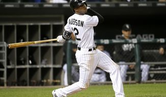 FILE - In this Sept. 27, 2016, file photo, Chicago White Sox's Tim Anderson watches his RBI double off Tampa Bay Rays starting pitcher Alex Cobb during the second inning of a baseball game in Chicago. Anderson was one of the few positives of the second half of the 2016 season. He figures to be a critical component of the rebuilding effort on the South Side.  (AP Photo/Charles Rex Arbogast, File)