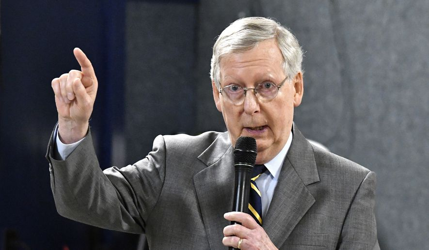 Senate Majority Leader Mitch McConnell of Ky., speaks at the Anderson County Chamber of Commerce luncheon at the American Legion Post 34, in Lawrenceburg, Ky., in this Feb. 21, 2017, file photo. (AP Photo/Timothy D. Easley, File)