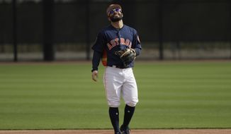 Houston Astros second baseman Jose Altuve smiles during a spring training baseball workout Sunday, Feb. 19, 2017, in West Palm Beach, Fla. (AP Photo/David J. Phillip)