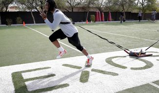 Former Clemson receiver Mike Williams runs drills, Monday, Feb. 13, 2017, in Phoenix during a football workout for the upcoming NFL combine. (AP Photo/Matt York)