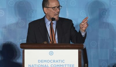 Former Labor Secretary Tom Perez, will be the first Latino chairman of the Democratic National Committee following his election Saturday, Feb. 25 at the party's winter meeting in Atlanta. He is shown here speaking earlier in the day prior to the final vote. (AP Photo/Branden Camp)