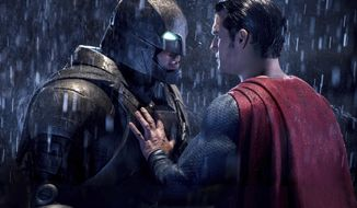 """This image released by Warner Bros. Pictures shows Ben Affleck, left, and Henry Cavill in a scene from, """"Batman v Superman: Dawn of Justice."""" The film received eight nominations for the 37th annual Razzie Awards, including one for worst worst picture. The awards will be announced on Feb. 25. (Clay Enos/Warner Bros. Pictures via AP)"""