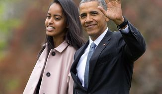 """FILE - In this April 7, 2016 file photo, President Barack Obama and his daughter Malia, walk across the South Lawn of the White House in Washington before boarding Marine One helicopter for the short flight to Andrews Air Force Base. Former President Obama and his daughter Malia Obama have caught a new revival of Arthur Miller's """"The Price."""" They attended the play starring Danny DeVito, John Turturro, Tony Shalhoub and Jessica Hecht at the American Airlines Theatre on Friday, Feb. 24, 2017, in New York. (AP Photo/Pablo Martinez Monsivais, File)"""