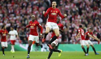 United's Zlatan Ibrahimovic celebrates after scoring the opening goal during the English League Cup final soccer match between Manchester United and Southampton FC at Wembley stadium in London, Sunday, Feb. 26, 2017. (AP Photo/Kirsty Wigglesworth)
