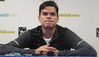 Milos Raonic, of Canada, speaks during a news conference at the Delray Open tennis tournament in Delray Beach, Fla., Sunday, Feb. 26, 2017. Raonic pulled out of the final against Jack Sock because of an injury. (Joe Cavaretta/South Florida Sun-Sentinel via AP)