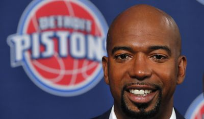 Former Detroit Pistons player Richard Hamilton smiles during a news conference before an NBA basketball game against the Boston Celtics in Auburn Hills, Mich., Sunday, Feb. 26, 2017. Hamilton is having his number retired. (AP Photo/Paul Sancya)