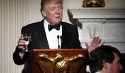 President Donald Trump makes a toast during a dinner reception for the annual National Governors Association winter meeting Sunday, Feb. 26, 2017, at the State Dining Room of the White House, in Washington. (AP Photo/Manuel Balce Ceneta)