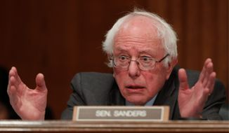 "Sen. Bernard Sanders ""has not closed the door"" on a third-party run as supporters rally for a Draft Bernie for a People's Party. (Associated Press)"