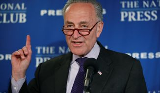 """Senate Minority Leader Charles E. Schumer of New York said, """"We Democrats are steeled for the fight, and it's already paying dividends. Frankly, we had a better first month than I think most would have imagined."""" (Associated Press)"""