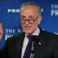 "Senate Minority Leader Charles E. Schumer of New York said, ""We Democrats are steeled for the fight, and it's already paying dividends. Frankly, we had a better first month than I think most would have imagined."" (Associated Press)"