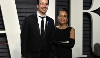 Lin-Manuel Miranda, left, and Luz Towns-Miranda arrive at the Vanity Fair Oscar Party on Sunday, Feb. 26, 2017, in Beverly Hills, Calif. (Photo by Evan Agostini/Invision/AP)