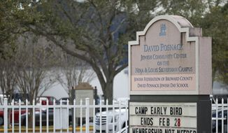 A sign outside the entrance to the David Posnack Jewish Community Center and David Posnack Jewish Day School is shown after people were evacuated because of a bomb threat, Monday, Feb. 27, 2017, in Davie, Fla. Jewish centers and schools across the nation are coping with another wave of bomb threats as officials in Philadelphia begin raising money to repair and restore hundreds of vandalized headstones at a Jewish cemetery. (AP Photo/Wilfredo Lee)