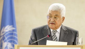 Palestinian President Mahmoud Abbas addresses his statement, during the High-Level Segment of the 34th session of the Human Rights Council, at the European headquarters of the United Nations in Geneva, Switzerland, Monday, Feb. 27, 2017. (Salvatore Di Nolfi/Keystone via AP) ** FILE **