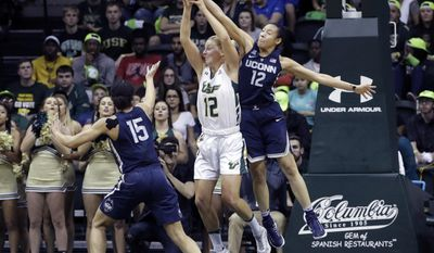 Connecticut guard Saniya Chong (12, right) knocks the ball away from South Florida forward Maria Jespersen (12) as UConn's Gabby Williams (15) looks for a rebound during the first half of an NCAA women's college basketball game Monday, Feb. 27, 2017, in Tampa, Fla. (AP Photo/Chris O'Meara)