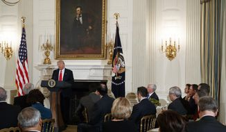 President Donald Trump speaks to a meeting of the National Governors Association, Monday, Feb. 27, 2017, at the White House in Washington. (AP Photo/Evan Vucci)