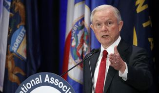 Attorney General Jeff Sessions speaks at the National Association of Attorneys General annual winter meeting, Tuesday, Feb. 28, 2017, in Washington. (AP Photo/Alex Brandon)