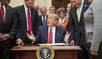 President Donald Trump speaks as he signs the Waters of the United States (WOTUS) executive order, Tuesday, Feb. 28, 2017, in the Roosevelt Room in the White House in Washington, which directs the Environmental Protection Agency to withdraw the Waters of the United States (WOTUS) rule, which expands the number of waterways that are federally protected under the Clean Water Act. (AP Photo/Andrew Harnik)