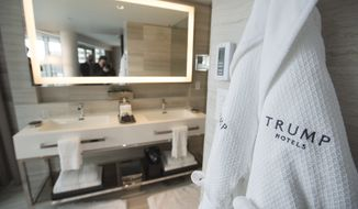 A hotel room's bathroom is pictured at Trump Tower in downtown Vancouver, Canada, Tuesday, Feb. 28, 2017, during the grand opening. (Jonathan Hayward/The Canadian Press via AP)